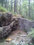 Rock Climbing Photo: Most of the main wall and right corner. The slab o...