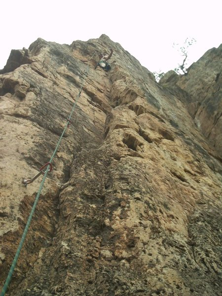 Rock Climbing Photo: Just below the crux.  One or two more bolts to the...