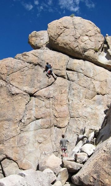 My first sport lead.  August 2011.  And, yes, I put a finger into the bolt hanger at the top--momentarily!  No-no.
