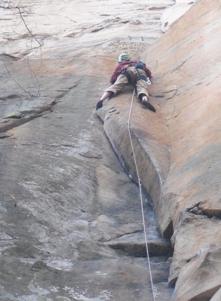 "Good old butt shot of ""Autumn"" 5.9- at Long Wall, Red River Gorge, KY."