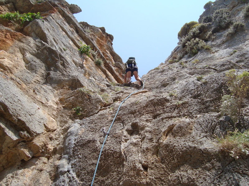 Climbing out from Sikati Cave