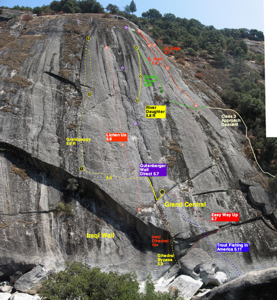 Basic topo of the lines on Gutenberger Wall at Cosumne River Gorge.