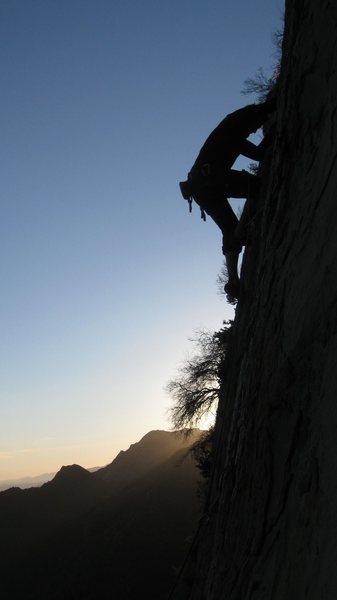 Rock Climbing Photo: Rob Beno backlit with the sunset on Hazardous Wast...