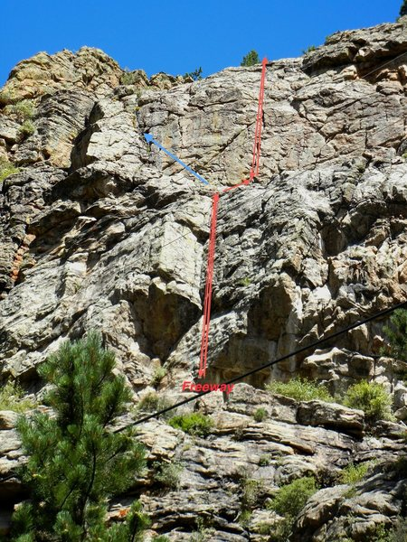 Rock Climbing Photo: The blue line is the 5.7 dihedral crack, the upper...