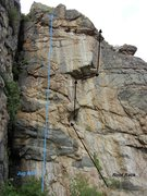 Rock Climbing Photo: Two great routes on this right side of the crag. I...