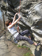 Rock Climbing Photo: Anna starts climbing Zig-Zag on the steep side of ...