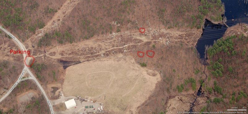 Rock Climbing Photo: Aerial shot of the area that marks the parking and...