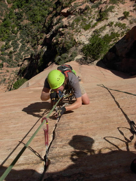 Cleaning the aid pitch on Tricks of the Trade, Zion NP