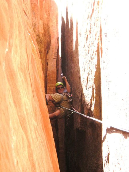 "180 feet of lounge chair witdth chimneying? Yes please. ""The Birth Canal"" Disco Inferno, Zion NP"