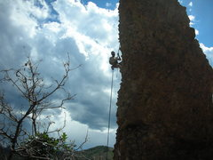 Rock Climbing Photo: Rappelling off the Monk