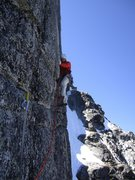 Rock Climbing Photo: Beginning the wide crack crux on the gendarme.  Ph...