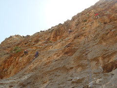 Rock Climbing Photo: High on Borhok at Arginonta in the orange shirt on...