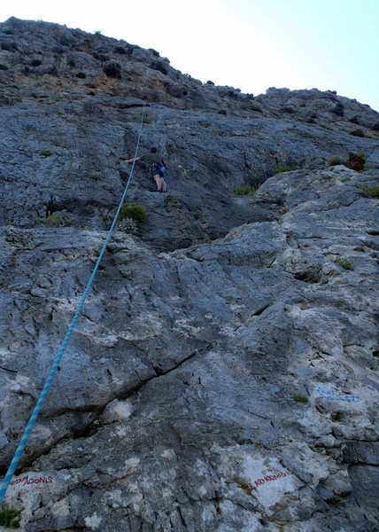 Rock Climbing Photo: Andy cleaning Kokkinidis.
