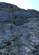 Rock Climbing Photo: Andy cleaning Kokkinidis.