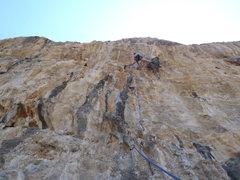 Rock Climbing Photo: Anja on Feta at Odyssey on Kalymnos.