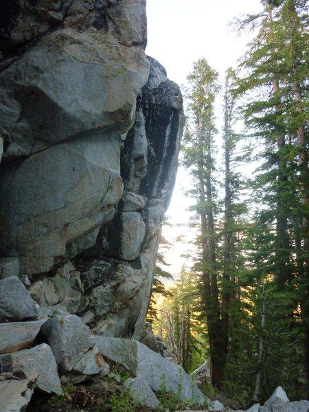 Rock Climbing Photo: The steep prow taken by Ominous Skies, 5.11b.