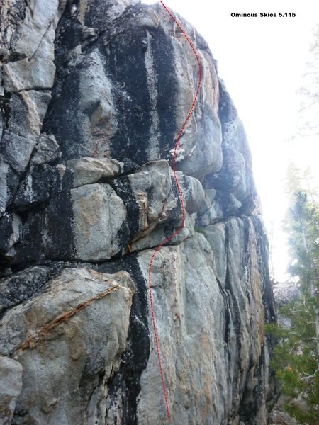 Rock Climbing Photo: Ominous Skies 5.11b, Topo