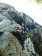 Rock Climbing Photo: Will moving through the first crux on Mozzy Mania,...