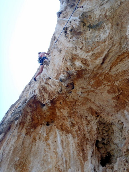 Rock Climbing Photo: Higher on the tufa and pockets.