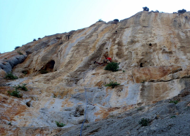 Around the first crux.