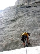 Rock Climbing Photo: Changing into climbing shoes at the top of the sno...