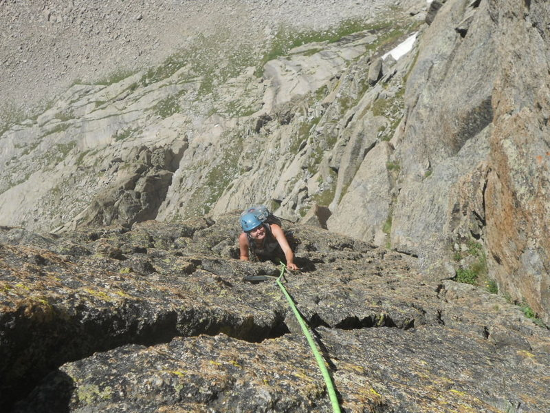 Meggie Marsden following the 4th and last pitch of Rain Dance, 5.8+ - a handcrack with chickenhead jugs on the side.