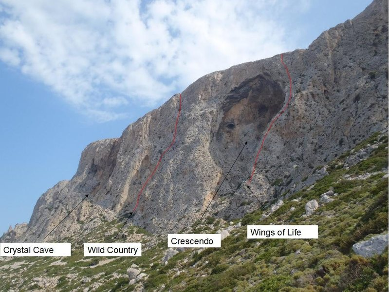 South Face of Telendos climbing sectors and two of the multipitches.