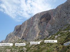 Rock Climbing Photo: South Face of Telendos climbing sectors and two of...