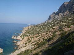 Rock Climbing Photo: The South coast of Telendos.