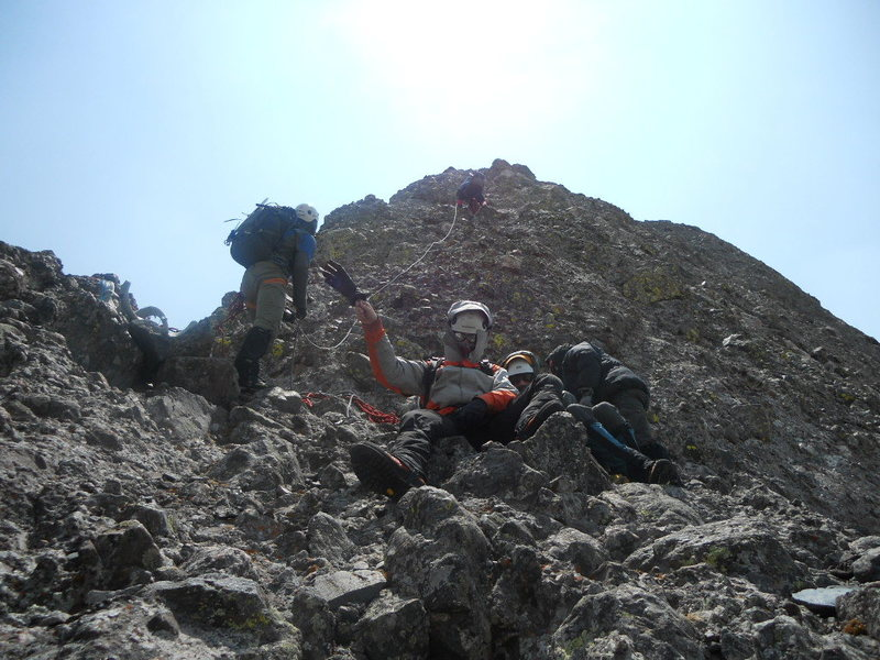 Rock Climbing Photo: Bill Bjornstad leading the North Ridge of Crestone...