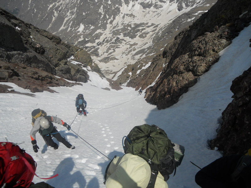 Looking down the NW couloir of Crestone Peak - spring Outward Bound training.