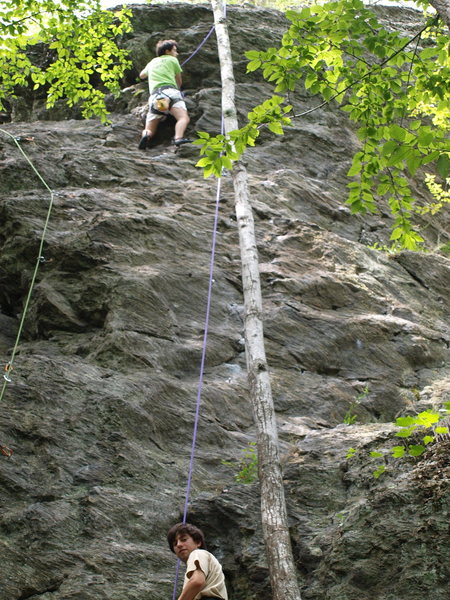 Ross below the topout crux. Green rope to left is Rainbow