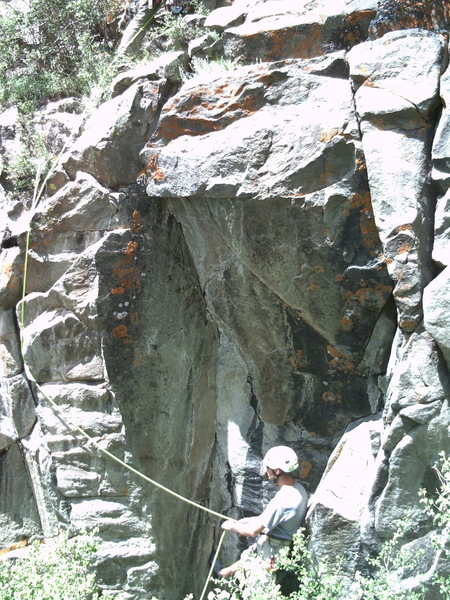 Rock Climbing Photo: John hiding from potential rockfall at the start.