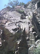 Rock Climbing Photo: From the thin crack, continue up going right aroun...