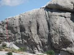 Rock Climbing Photo: Left Toprope, easiest line at 5.7.