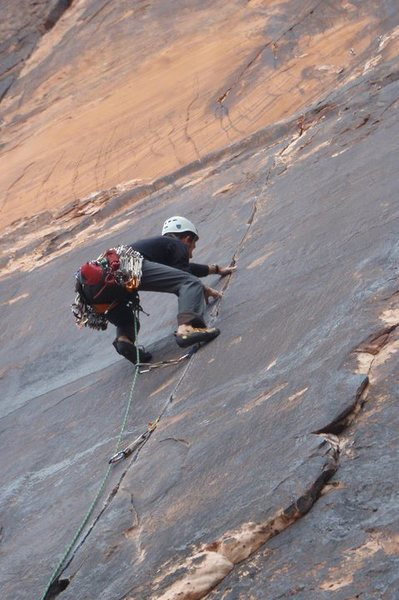 Rock Climbing Photo: Mark on Straight Shooter again in 2011, 27 years l...