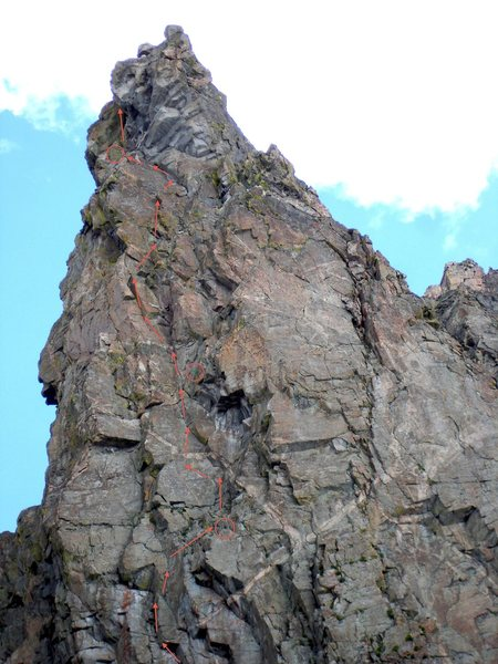 Rock Climbing Photo: Southeast Face line. Part of the first pitch is no...
