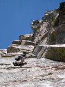 Rock Climbing Photo: Jack finds gear after the run-out crux on the seco...