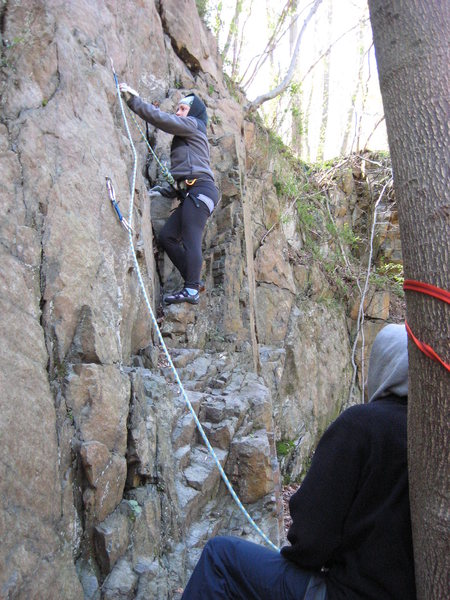 Rock Climbing Photo: Randall walks Jen through leading and cleaning on ...