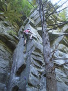 Rock Climbing Photo: Elena moving into the upper section of Jigsaw.