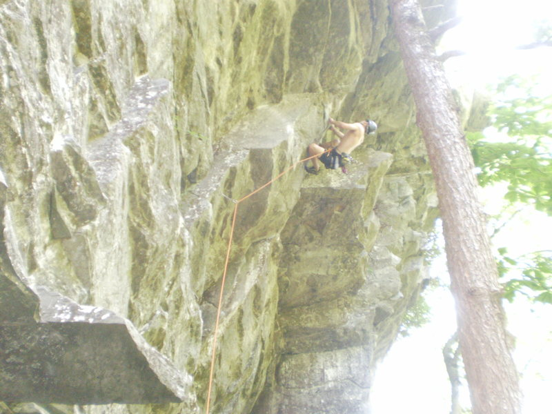 Rock Climbing Photo: The final difficult moves of The Dragon.