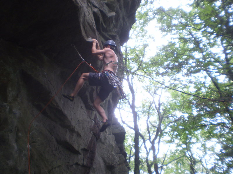 Rock Climbing Photo: Getting established at the prominent roof.