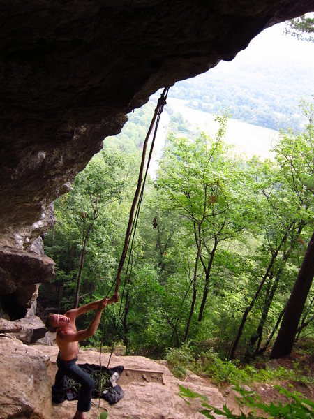 Rock Climbing Photo: Chris Chin makes stick clip of the first bolt.