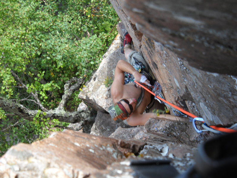 Rock Climbing Photo: Bryan cleaning the crux section.