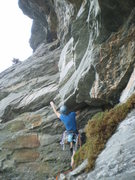 Rock Climbing Photo: The route's crux roof.  Lots of fun and exposure.