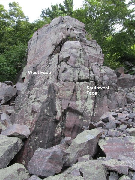 "Rock Climbing Photo: ""West Corner"" goes between the W Face an..."