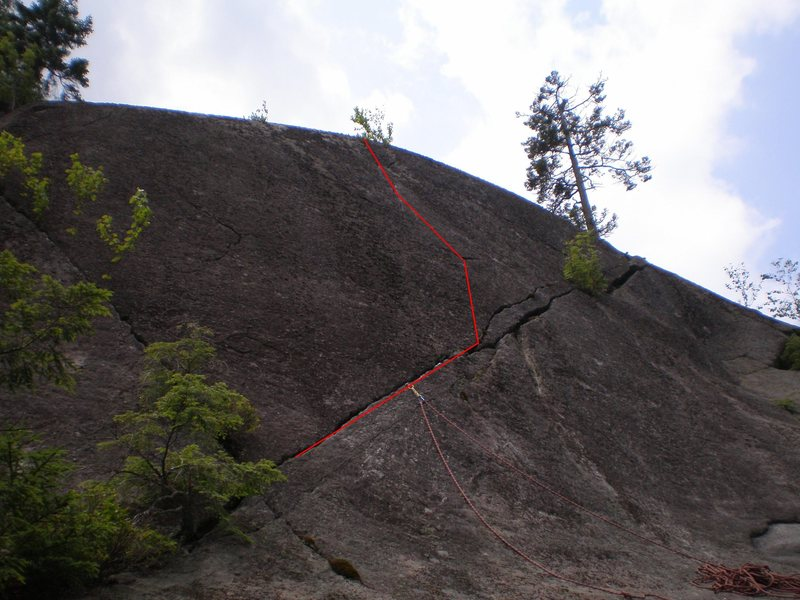 Rock Climbing Photo: The basic line, the route goes on for another 15-2...