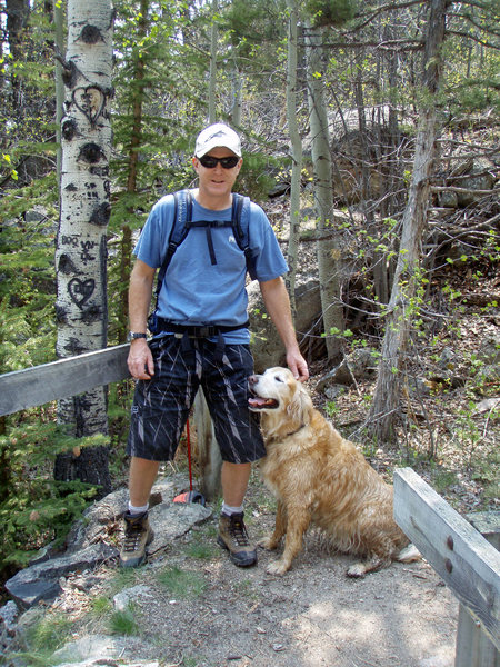 Ranger & me on a hike: Roaring Creek, Poudre Canyon, June, 2011.