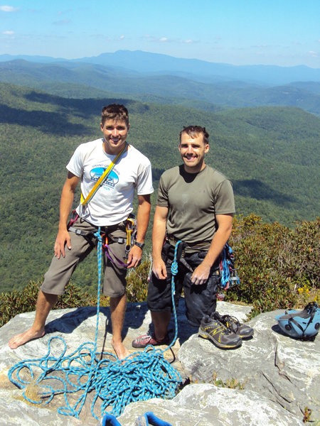 Nate and Tobey, summit of Table Rock (White Lightning to North Ridge)