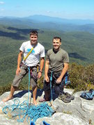 Rock Climbing Photo: Nate and Tobey, summit of Table Rock (White Lightn...